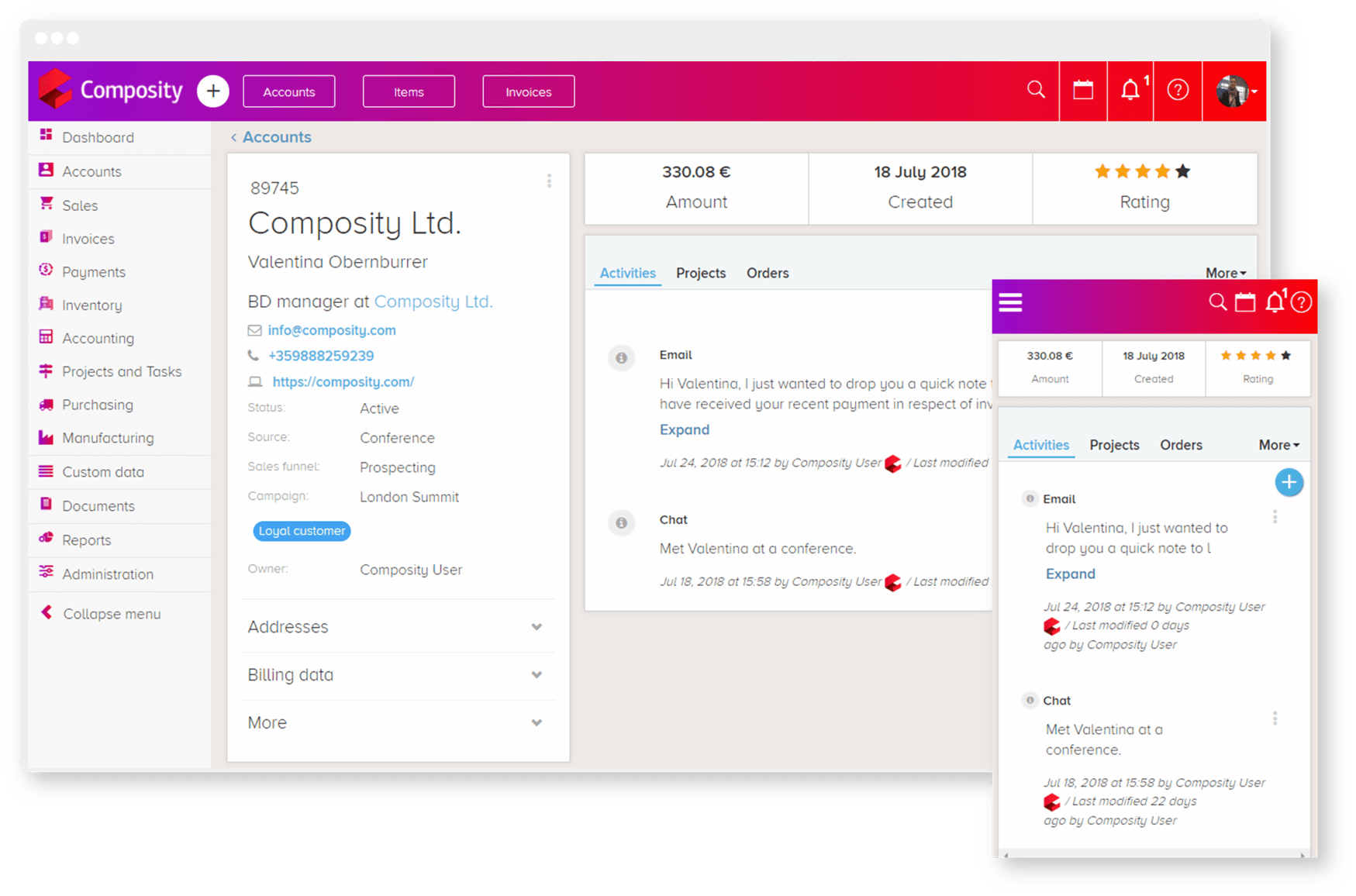 Screenshot of desktop and mobile version of Composity CRM